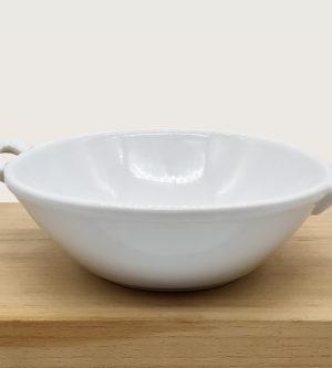 cazuelita honda blanca con asas de ceramica